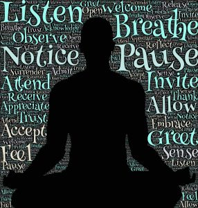 sitting in meditation, calming words